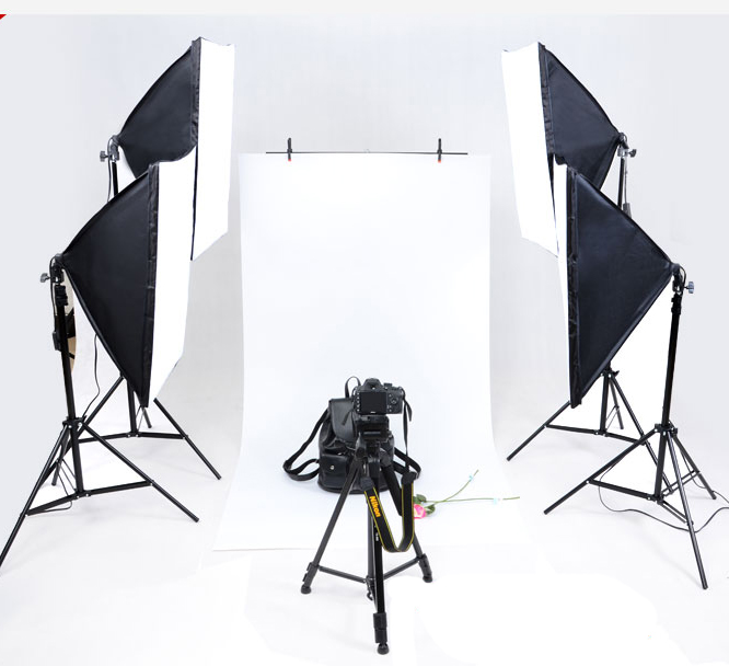 Photo Studio Softbox kit 4 light stand 4 light holder 4 softbox 1pc carrying bag 16PCS 24W E27 LED video lighting kit soft box  portable photo studio 4 photographic backgrounds 1 camera stand 2 halogen lights w carrying bag
