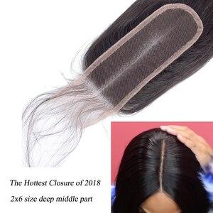 Image 5 - Queenlike Braziliaanse Haar Weefsel Bundels Met 2x6 Diepe Kim K Sluiting Niet Remy Human Hair Inslag 3 Straight haar Bundels Met Sluiting