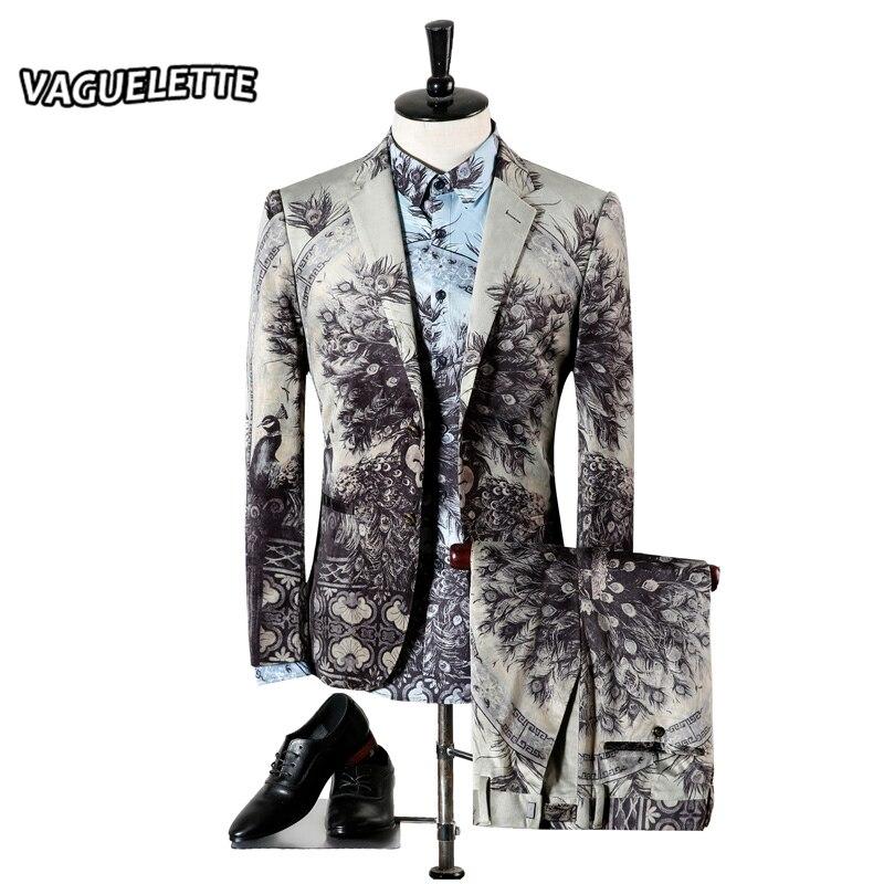 Light Grey Slim Fit Suits For Men Peacock Parrot Pattern Stage Wear Vintage Wedding Mens Skinny