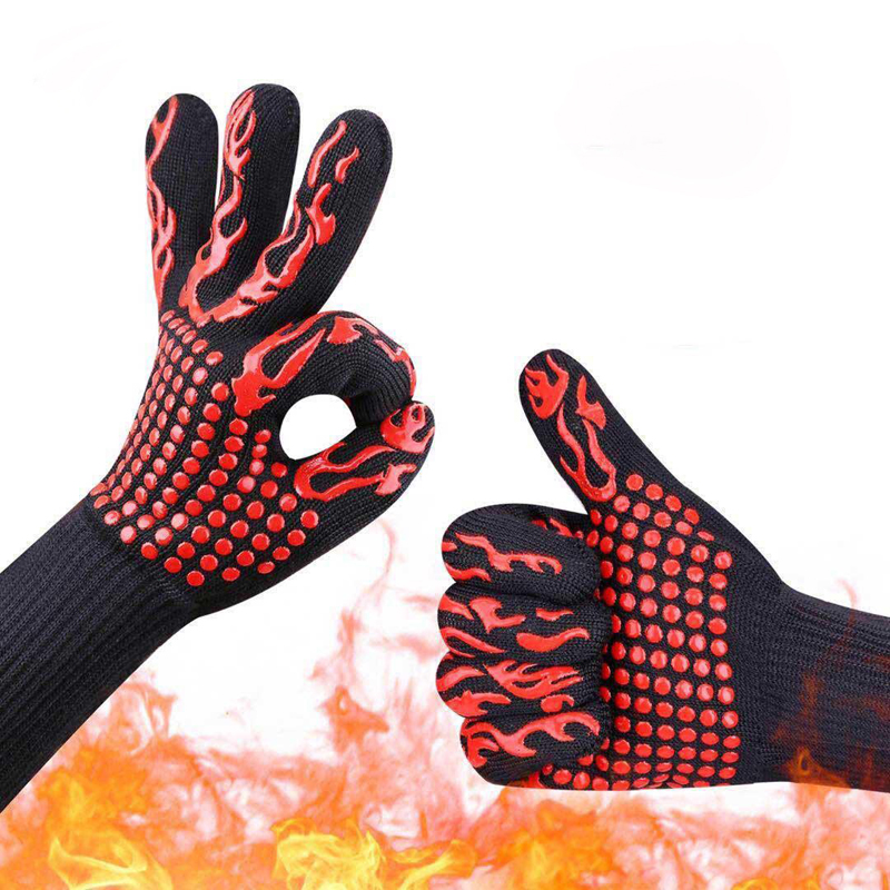 2PCS/Lot High Temperature Resistance Gloves Insulation and Anti scalding Glove Oven BBQ Gloves Non slip Thicken Durable GST012|Safety Gloves| |  - title=
