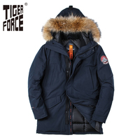 TIGER FORCE 2017 New Men Padded Parka Winter Polyester Coat Thick Parkas With Raccoon Fur Collar
