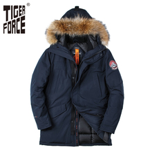 TIGER FORCE 2017 New Men Padded Parka Winter Polyester Coat Thick Parkas With Raccoon Fur Collar Fashion Coat Mens Free Shipping