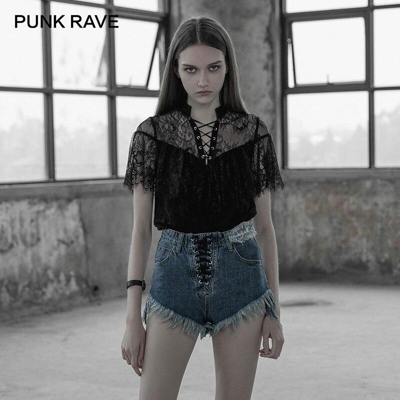 PUNK RAVE femmes gothique noir mode Lotus feuille T-shirt Sexy dentelle évider chemise femmes à manches courtes d'été T-shirt