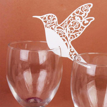50pcs DIY Laser Cut Pearlscent Paper Cards Birthday Party Decoration Place Card Flying Birds Cups Glass