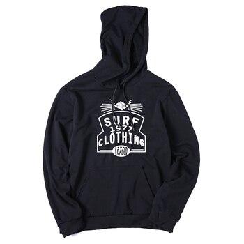 COOLMIND QI0117H cotton blend fleece black surf hooded men sweatshirts casual fleece loose autumn men hoodies with hat