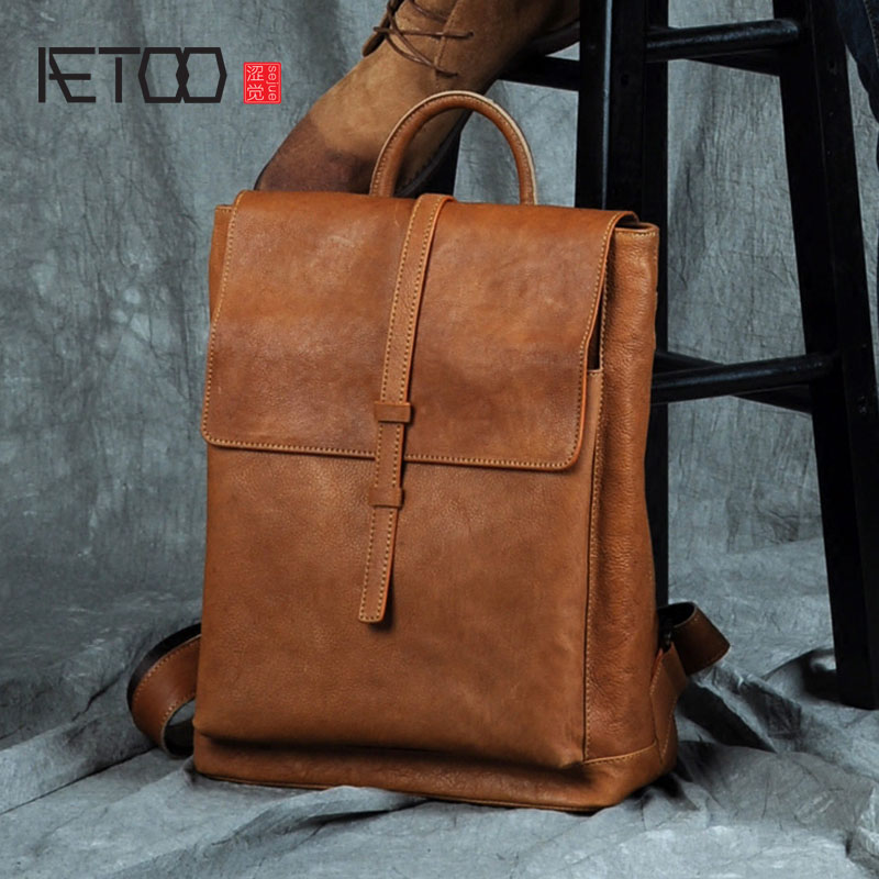 AETOO Leather shoulder bag, men's head layer, leather backpack, fashion trend, simple college bag, leisure travel bag aetoo leather shoulder bag head layer cowhide backpack retro art college wind bag leisure travel