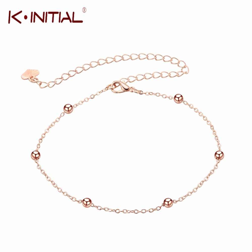 Prosty urok ręcznie mankietów ananas piłka stóp stóp łańcuszek na kostkę bransoletka na kostkę dla kobiet dziewczyna różowe złoto moda noga łańcuch biżuteria