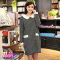 Spring and autumn maternity clothing fashion clothes loose stripe long-sleeve lace decoration one-piece dress