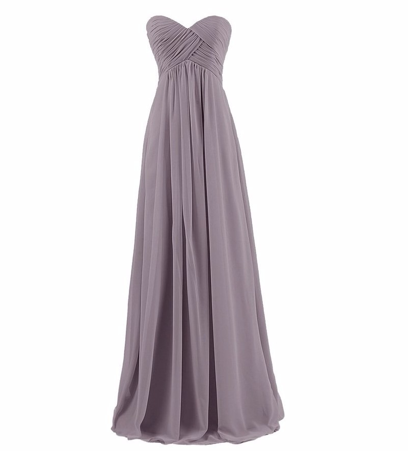 Strapless Pleat Pink Long Bridesmaid Dress