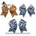 "WomensDate 12Pcs/Lot 4""Wholesale Lots Black White Leopard Ribbon Cheer Bows Hair Bows/Cheerleading Headwear"