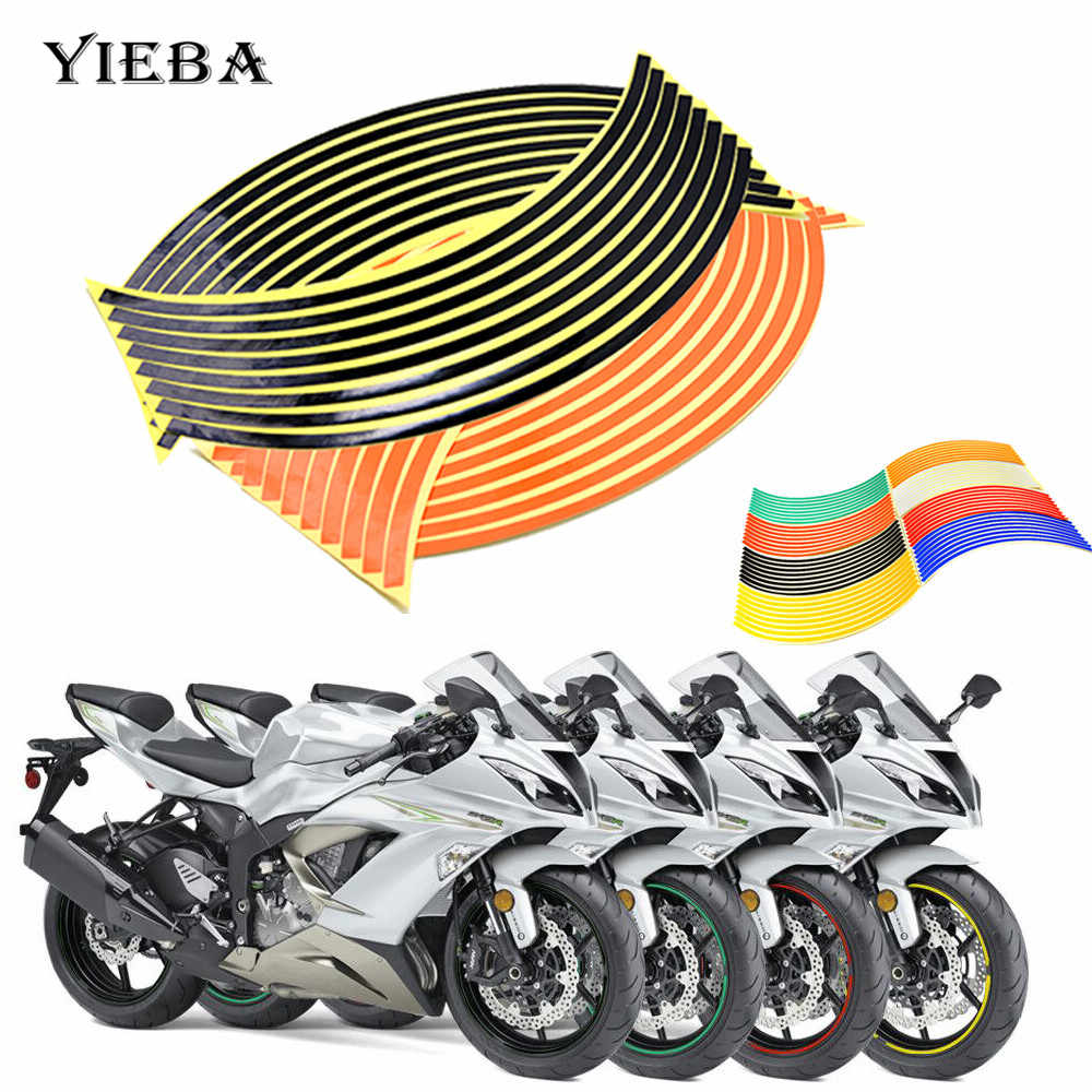Водонепроницаемые Светоотражающие наклейки на колеса мотоцикла, декоративные наклейки для YZF R125 FZ1 FZ8 FJR1300A, MT-125, XJ6, XJR1300, FJR