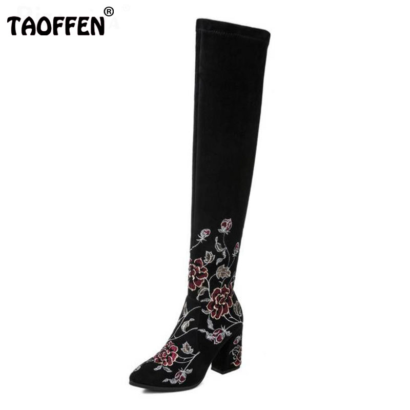 TAOFFEN Fashion Winter Shoes Women Real Leather Thick High Heel Over Knee Boots Women Embroidery Flower Elastic Shoes Size 34-39 цена