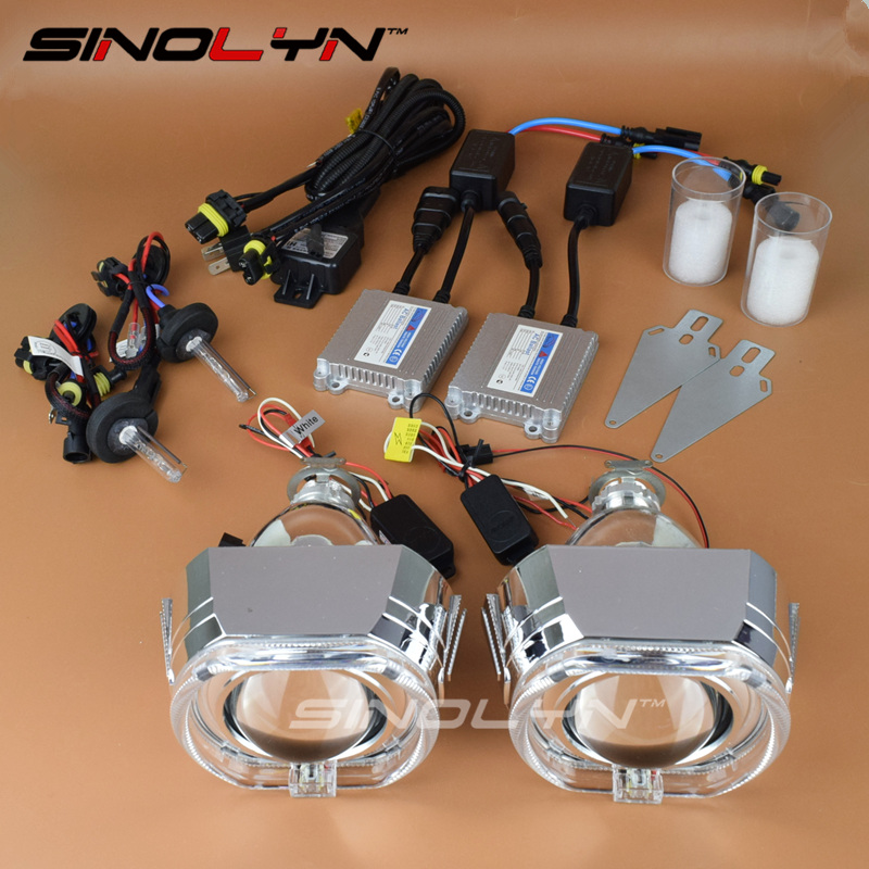 SINOLYN Car Styling 2.5'' Square LED Angel Eyes DRL HID Bi-xenon Projector Lens Headlight Retrofit Full Kit H4 H7 4300K 6000K  car styling automobiles 3 0 metal bi xenon hid lens with led cob drl angel eyes for projector headlight h1 h4 h7