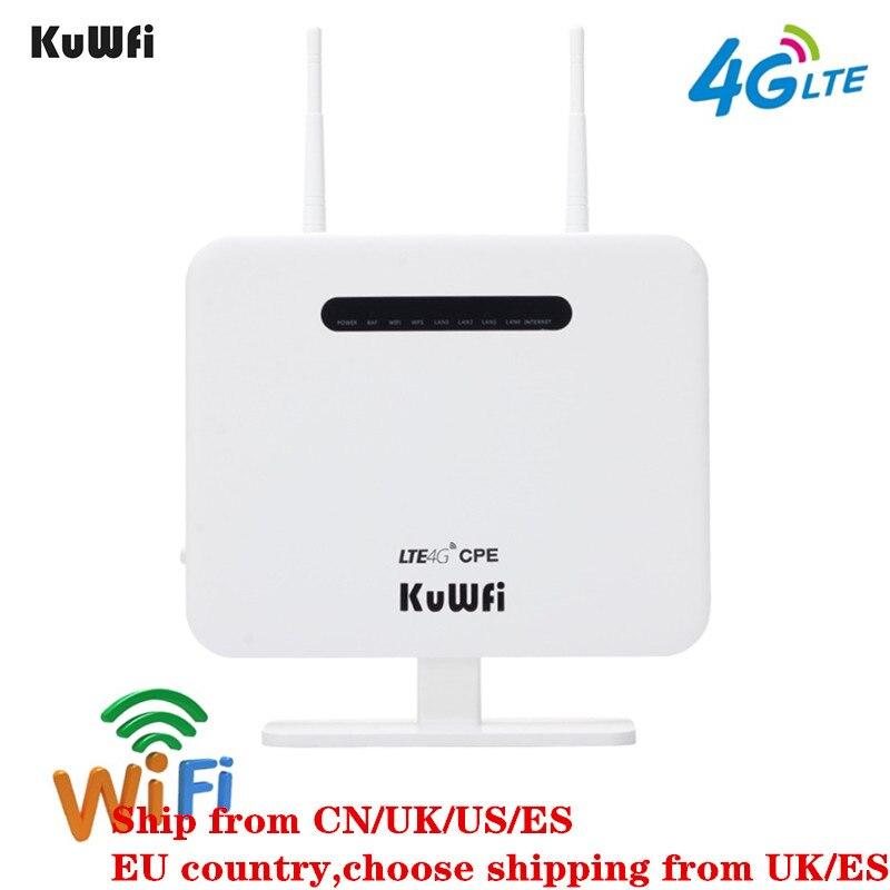 KuWFi Débloqué 4G LTE CPE Routeur Mobile Avec LAN Port Soutien SIM Carte Portable 300 Mbps routeur sans fil Avec 2 antennes extérieures