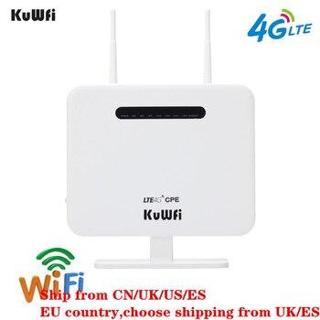 KuWFi desbloqueado 4G LTE CPE enrutador móvil con puerto LAN tarjeta SIM portátil 300 Mbps enrutador inalámbrico con 2 antenas externas