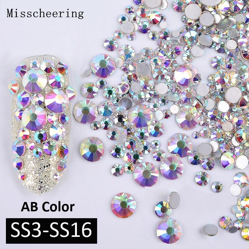 1 упаковка AB Цвет смешанные (SS3-SS16) ногтей стразами Серебряный Flatback Стекло хрустальные камни не глиттер с горячей фиксацией украшения для ногтей