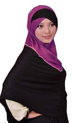 இpanjang Khaleeji Jilbab Panjang Islam Jilbab Lintas 2 Tone
