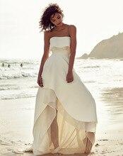 2019 Beach Wedding Dress Strapless Simple Informal Bride Dresses Vestido De Novia Lace Boho Gowns Zipper Back