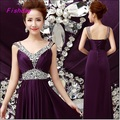 Cheap Long A line Royal Blue Purple Beading Elegant Abendkleider Evening Dresses New arrival Formal Mother of the Bride A40