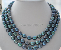 LHX5568>>>3strands 12mm rice peacock black Freshwater cultured pearl necklace