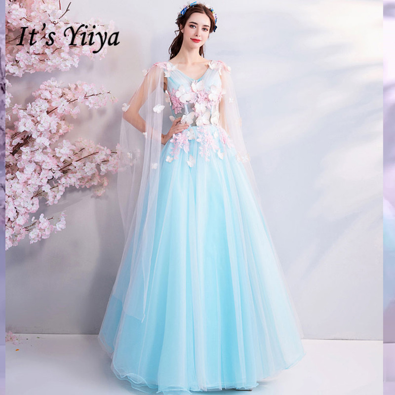 It's YiiYa Blue Evening Dresses Sleeveless V-neck Floral Floor-length Tulle Fresh Party Dress Lace Up Illusion Pretty LX799