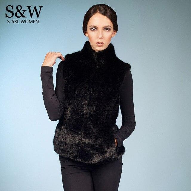 780c31a3865 Plus Size 5XL 6XL Faux Fur Vest Women Rabbit Fur Vest Sleeveless Fur Gilet  Waistcoats White  Black Fur Coat Jacket