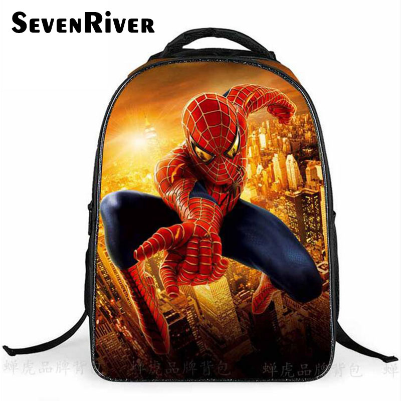 Baby Boy Primary Cartoon font b Backpack b font Double Shoulder School Bag Fashion Spiderman Bag