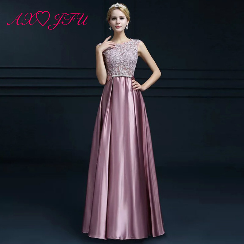AXJFU princess pink lace flower   evening     dress   party gold o neck beading grey crystal sashes sleeveless a line red   evening     dress