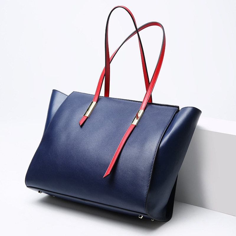 купить Brand handbag women large bucket shoulder bag female high quality Genuine Leather tote bag fashion solid color top-handle bag по цене 3939.78 рублей