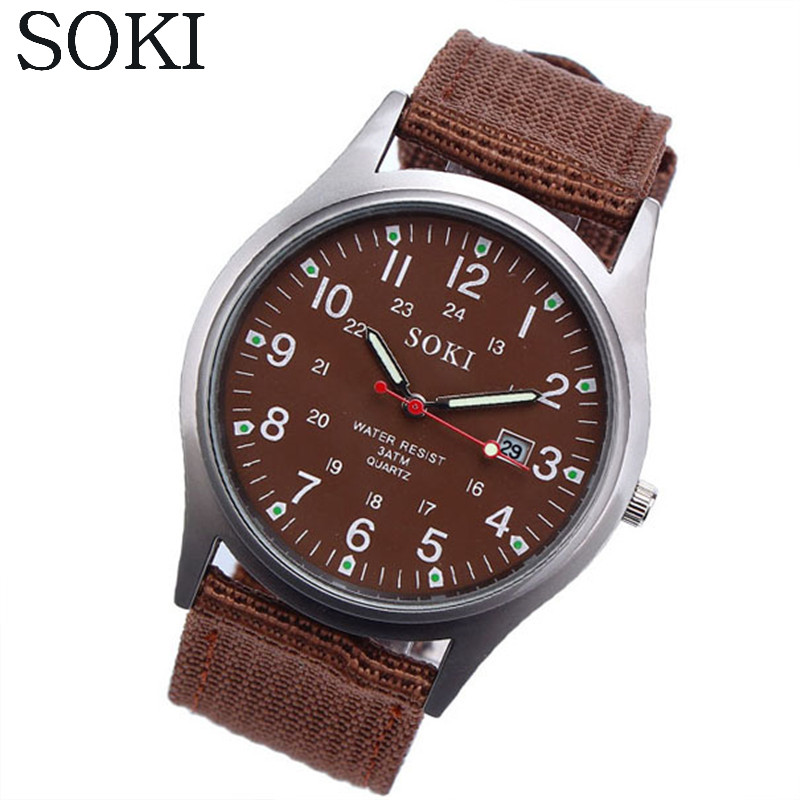 SOKI Fashion Sport Outdoor Men's Date Quartz Analog Wrist Watch Military Sports Canvas Strap Unisex Army Style Watch Homme Reloj new fashion design unisex sport watch silicone multi purpose date time electronic wrist calculator boys girls children watch