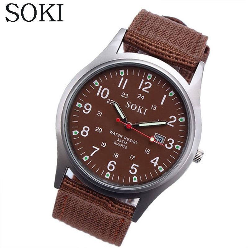 SOKI Fashion Sport Outdoor Men's Date Quartz Analog Wrist Watch Military Sports Canvas Strap Unisex Army Style Watch Homme Reloj