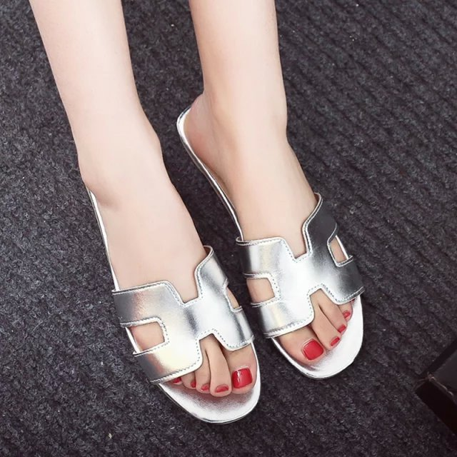 2017 Summer New H Brand vintage PU Soft Patent Leather Women Flats 8 color Sandals Loafers Slippers Shoes women ladies flats vintage pu leather loafers pointed toe silver metal design