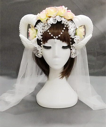 Handmade Lolita Fancy Dress Sheep Horns Headband With Rose Flowers Lace Veil Halloween Headwear Costume accessory Punk