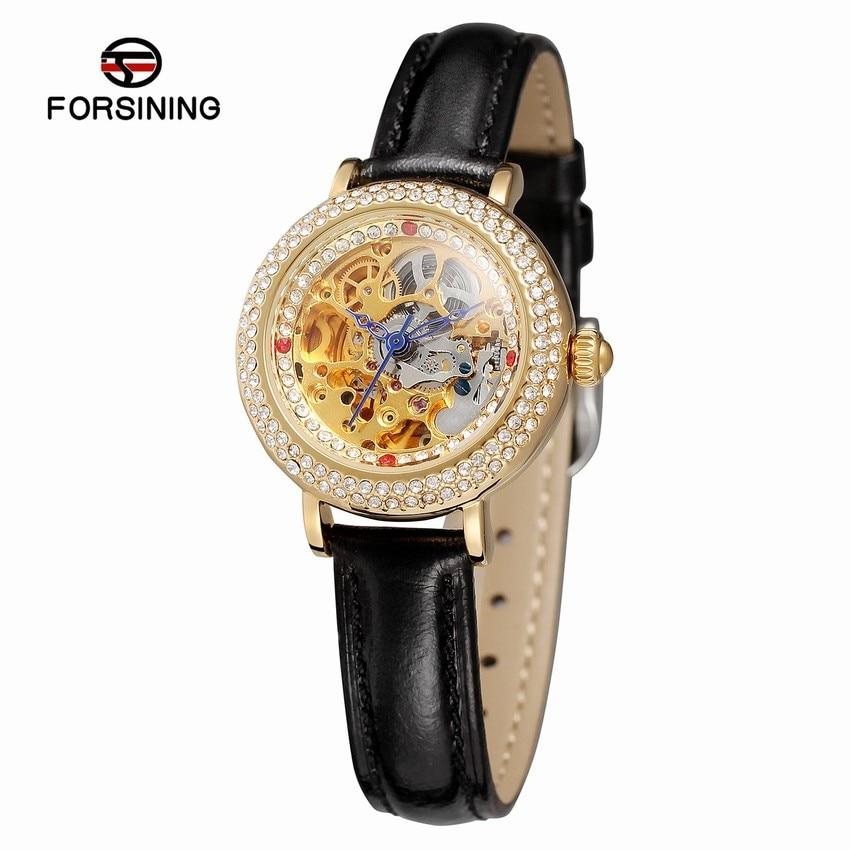 купить FORSINING Luxury Women Watches Leather Mechanical Automatic Self Wind Ladies Watch Montre Automatique Femme Bayan Kol Saati по цене 2719.22 рублей