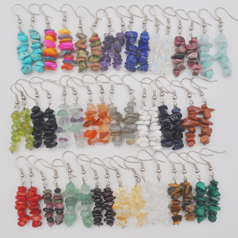 Natural Lucky Handmade Mixed Stone Beads GEM Earrings Jewelry 1 Pair T170-T189