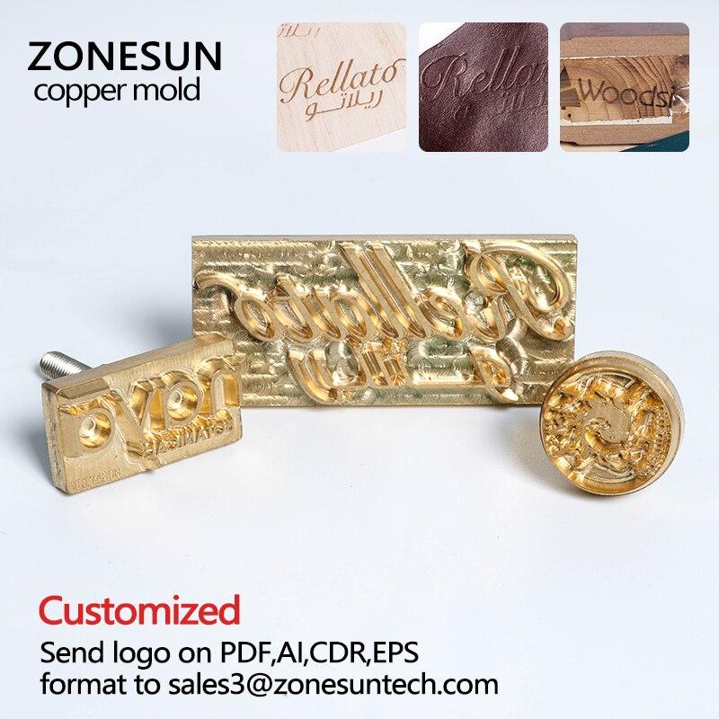 ZONESUN en laiton en cuir timbres Logo Sculpture Outils Gaufrage Seal Chaude Marque Personnalisé Moule Chauffage sur bois personnalisé fer pièces
