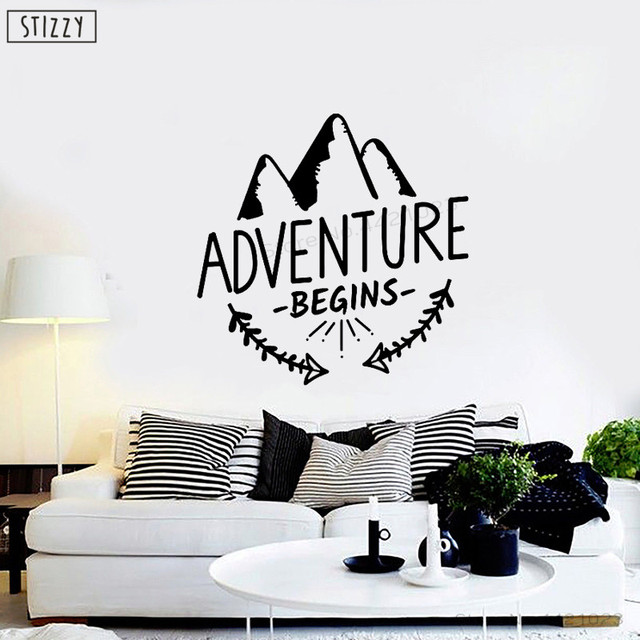 stizzy wall decal quotes adventure begins wall decor mountain travel