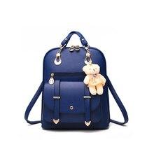 Новая повседневная обувь из искусственной кожи Модные женские туфли рюкзак школьный дорожная сумка с медведем куклы для подростков девочек LXX9
