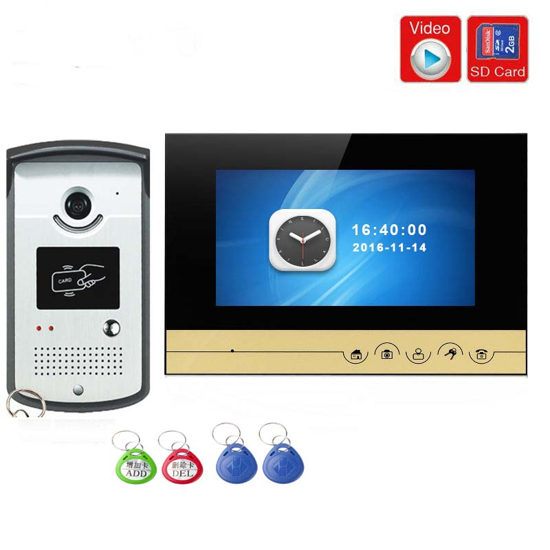 SmartYIBA Video Intercom 7''Inch Monitor Wired Video Door Phone Doorbell Intercom RFID Access Camera Kit Video Recording SD Slot