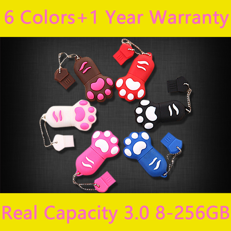 Gadgets Gift Real Capacity Lovely Cat Claw USB 3.0 Flash Drive 128GB 64GB 32GB 16GB USB  ...