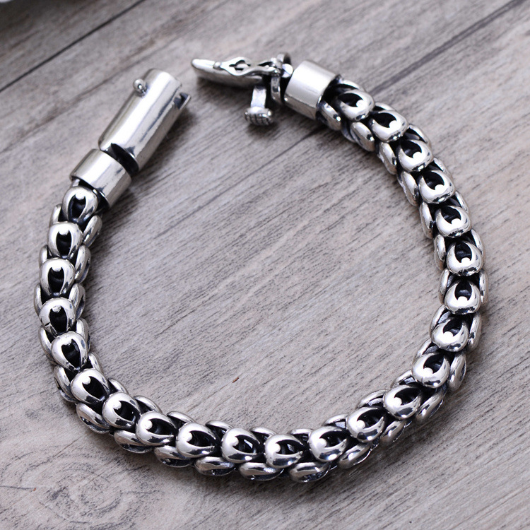 8mm Wide 20cm 925 Sterling Silver Vintage Heavy Chinese Dragon Body Bracelet Men Thai Silver Gift Jewelry CH058041 8mm wide 20cm 925 sterling silver vintage heavy chinese dragon body bracelet men thai silver gift jewelry ch058041