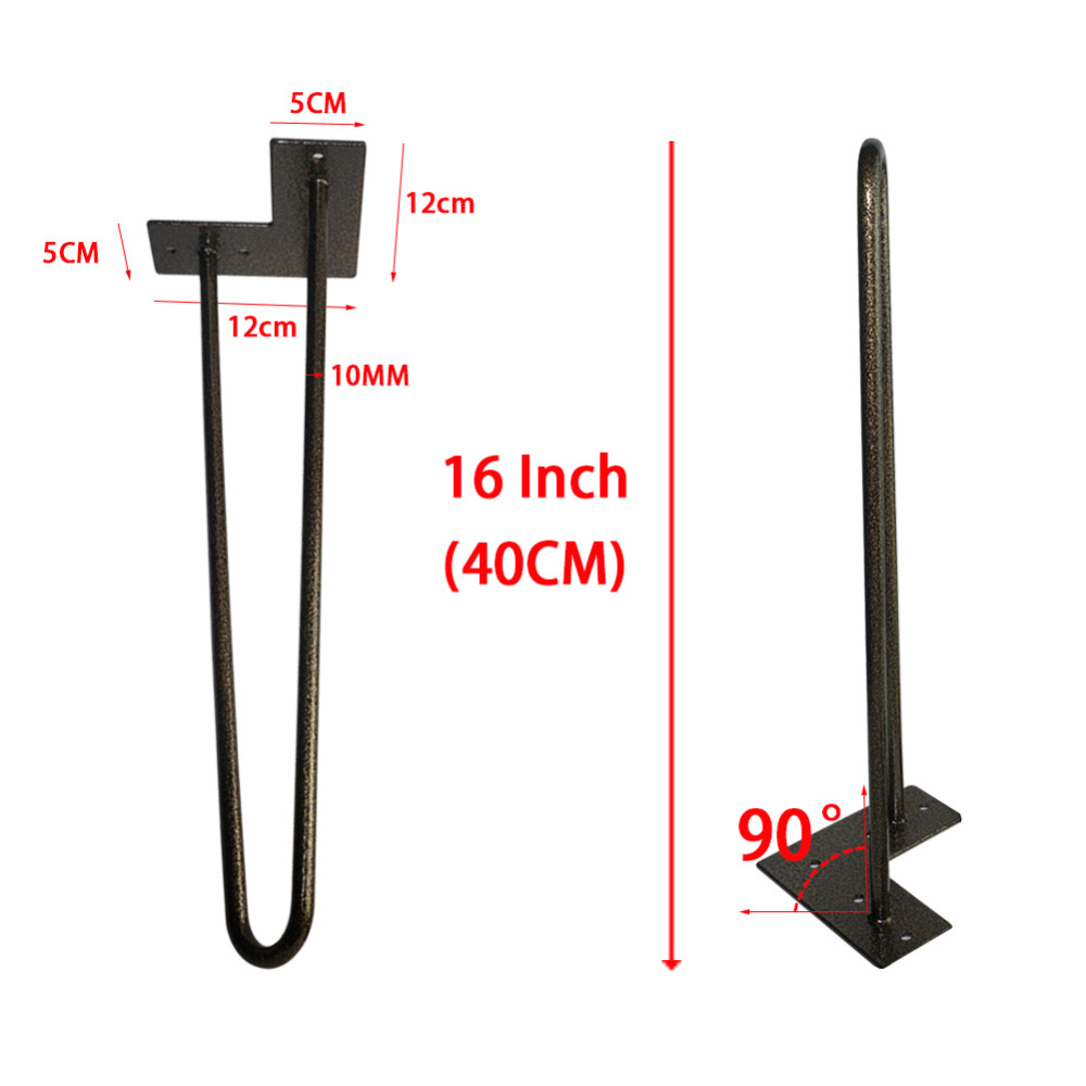 40CM Metal Hairpin Legs-2 rod 10 mm Dia.-Black Glod-Set of 4,Modern Hairpin Table legs,Creative Coffee Table legs free shipping factory manufacture 30cm low coffee table hairpins 1 2 solid metal bar hairpin table legs set of 4 4pcs