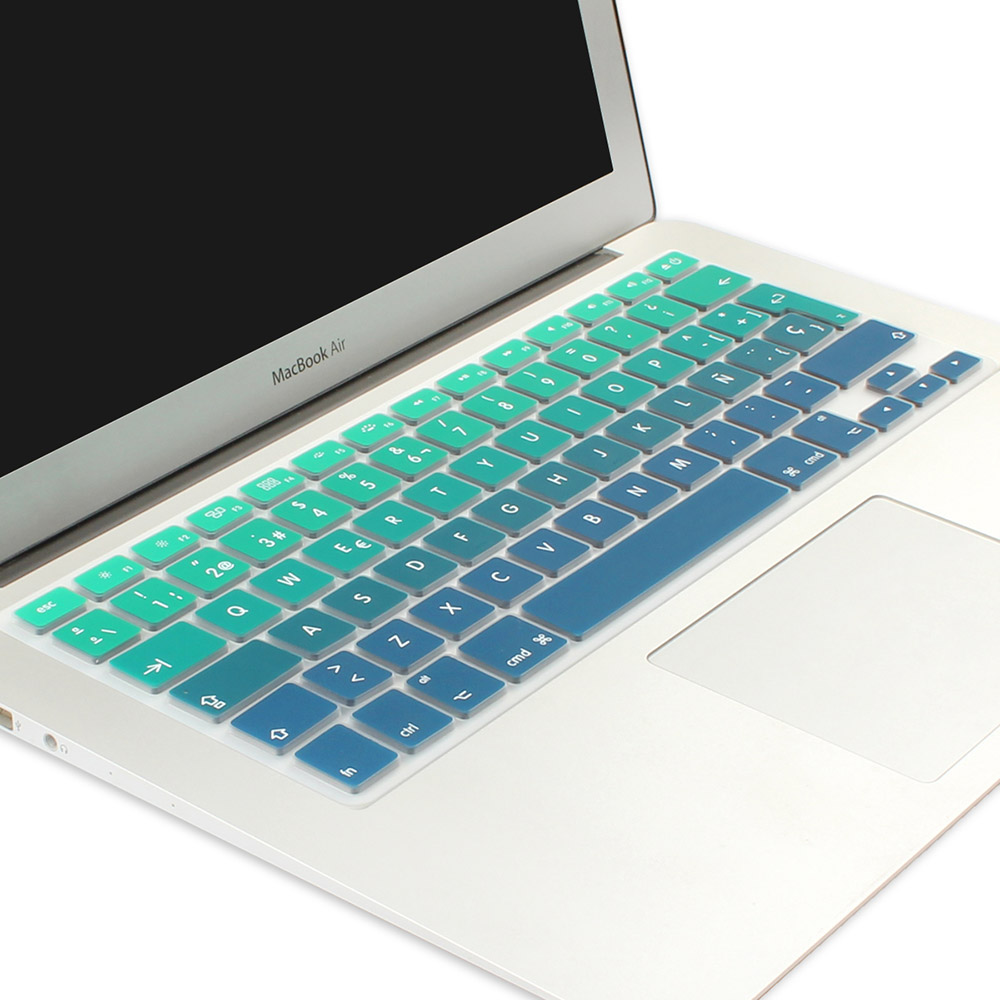Euro Spanish English Russia Water Dust Proof Keyboard Cover for MacBook air 13 Protector Gradual Change Colors-EU French Green