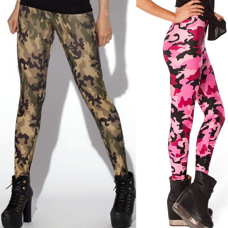 HOT Sexy Fashion Womens Leggins Galaxy Colorful Pants CAMO PINK LEGGINGS - LIMITED Woman Pants Free Shipping