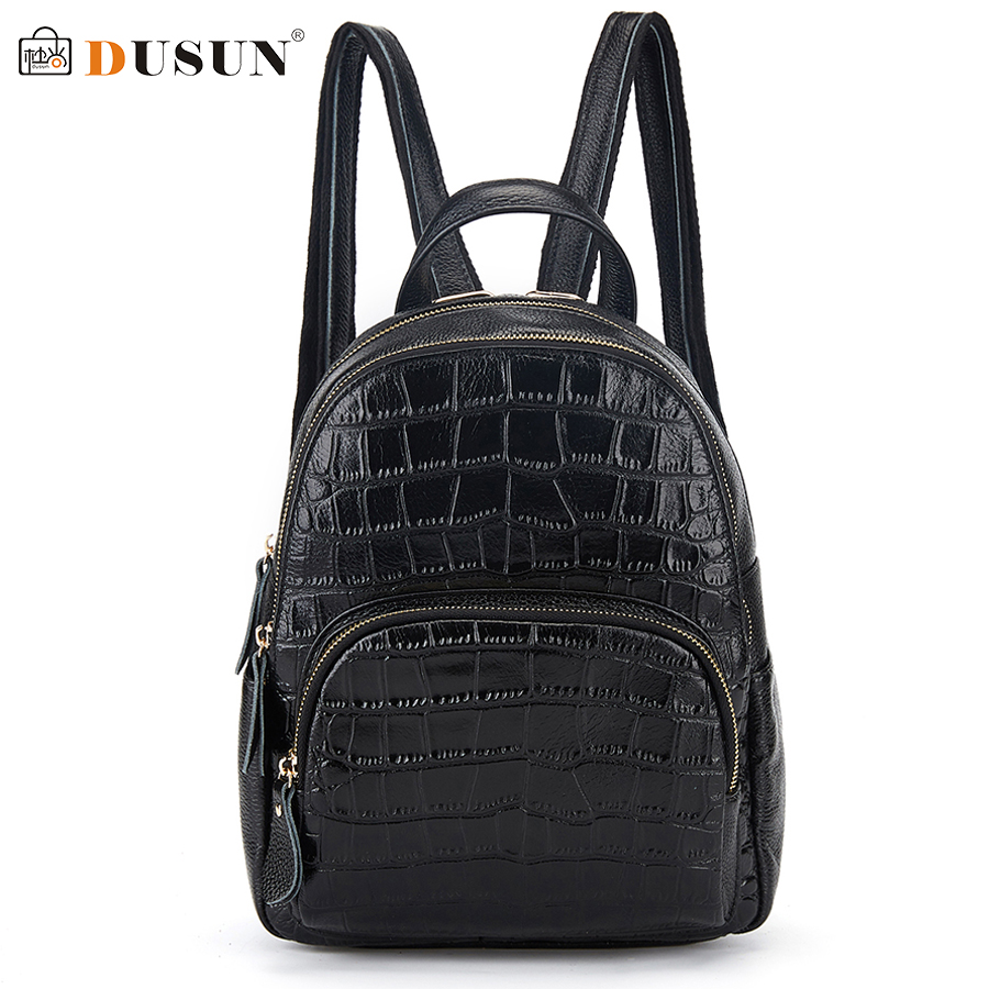 DUSUN Famous Brand Women Backpack Fashion Genuine Leather Double Shoulder Bag Women Leisure Solid Color Satchel Girl Backpack 2017 fashion women waterproof oxford backpack famous designers brand shoulder bag leisure backpack for girl and college student