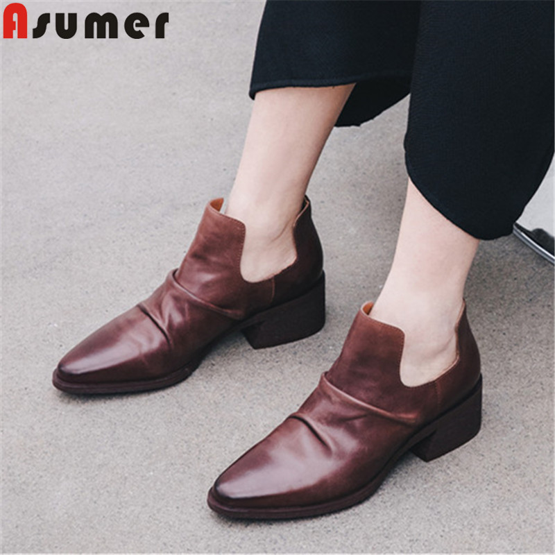 ASUMER 2019 new ankle boots for women round toe slip on classic genuine leather shoes square heels med heels shoes women bootsASUMER 2019 new ankle boots for women round toe slip on classic genuine leather shoes square heels med heels shoes women boots