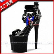Frauen schuhe mode 20 cm Punk high heels nieten gladiator-sandalen 8 zoll plattformen schnalle pole dance schuhe