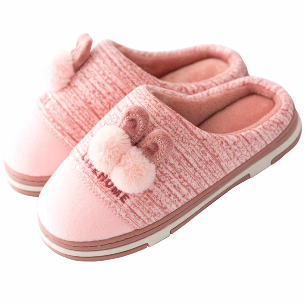 MUQGEW Outono Chinelos de Algodão Sapatos Da Mulher do Inverno Manter Aquecido 2019 Chinelos Chão Do Quarto Dos Desenhos Animados Não-deslizamento Sapatos chaussures femme