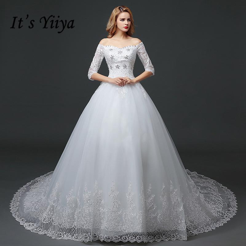 YiiYa 2016 new high quality white train handmade wedding gowns frocks trailing wedding dress design Vestidos De Novia HS612-in Wedding Dresses from ...