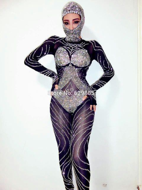 cb014a0af11 2017 Fashion Bling Jumpsuit Sexy Black Rompers Stage Wear Rhinestone Costume  Female Singer Nightclub Party Rhinestone